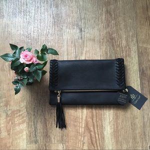 NWT Moda Luxe · Black Palermo Fold-Over Clutch